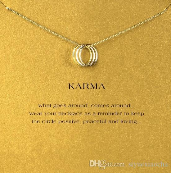 With card! cute Dogeared Necklace with 3 circles Karma Silver and Gold color, no fade, and high quality