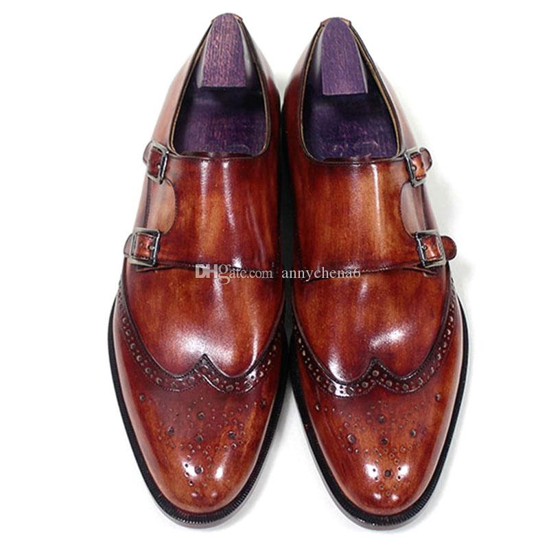 12dc34ae44 Men Dress Shoes Monk Strap Oxfords Custom Handmade Shoes Round Toe Genuine  Calf Leather Color Patina Red Brown HD N190 Loafer Shoes Shoes Uk From  Annychena6 ...