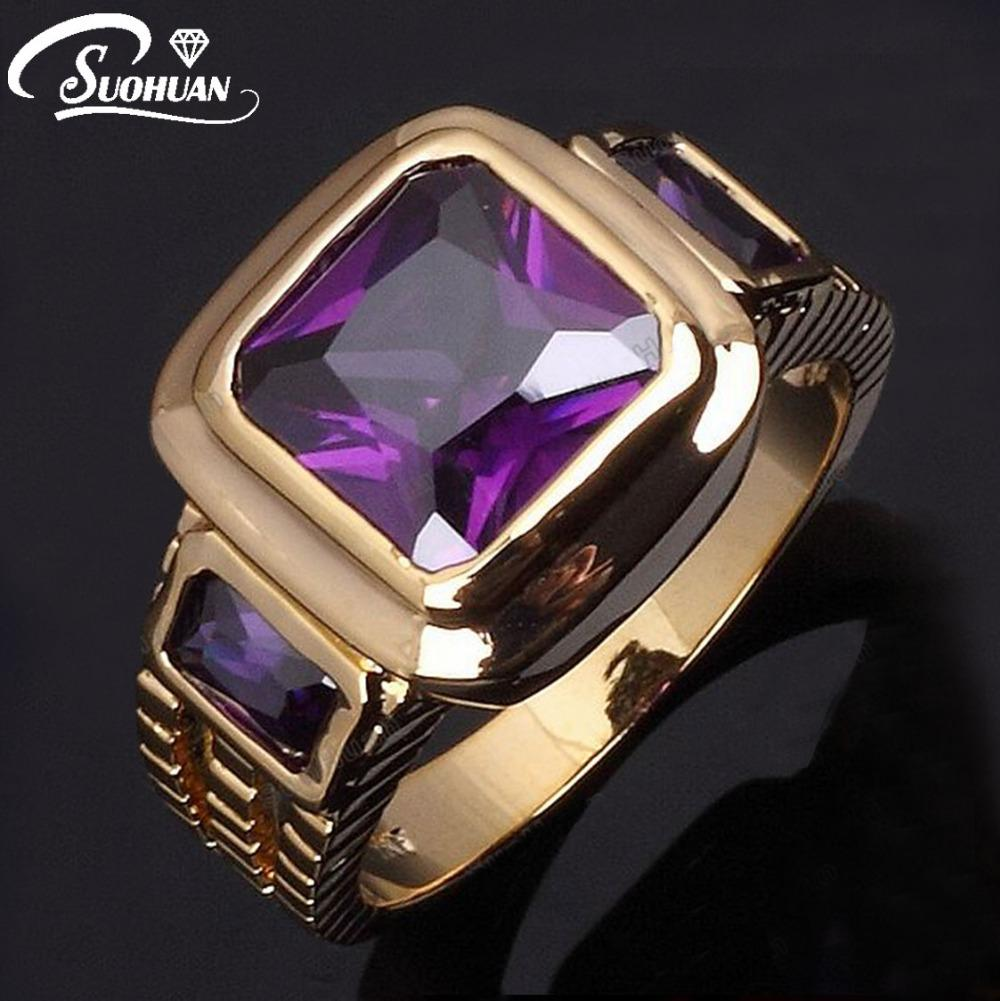 cubic silver white over gold amethyst in zirconia rings purple ring plated and amp p