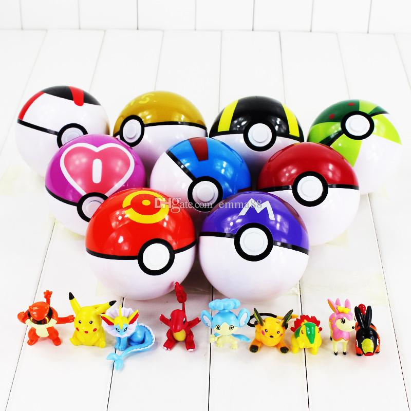 10cm Anim Poke Poke Ball with Poke Figures PVC Action Figure Collectable Model Toy free shipping Retail