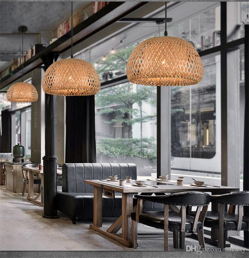 Brief Modern Pendant Lamp Store Caffee Bar Restaurant Pendant Lights Craft  Weave Suspension Lamp Banboo For Dining Room/Bedroom/Hallway Pendant Lamp  Pendant ...