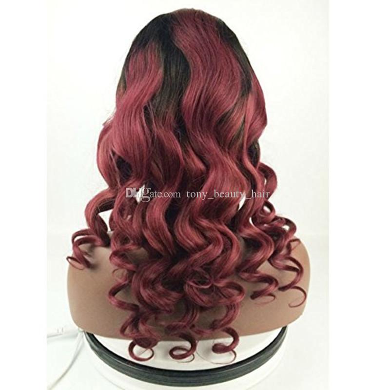 Two Tone # 1B / 99J vino rosso scuro radice Ombre 360 Full Lace Band frontale chiusura con bordeaux dell'onda del corpo vergine pacchi dei capelli umani