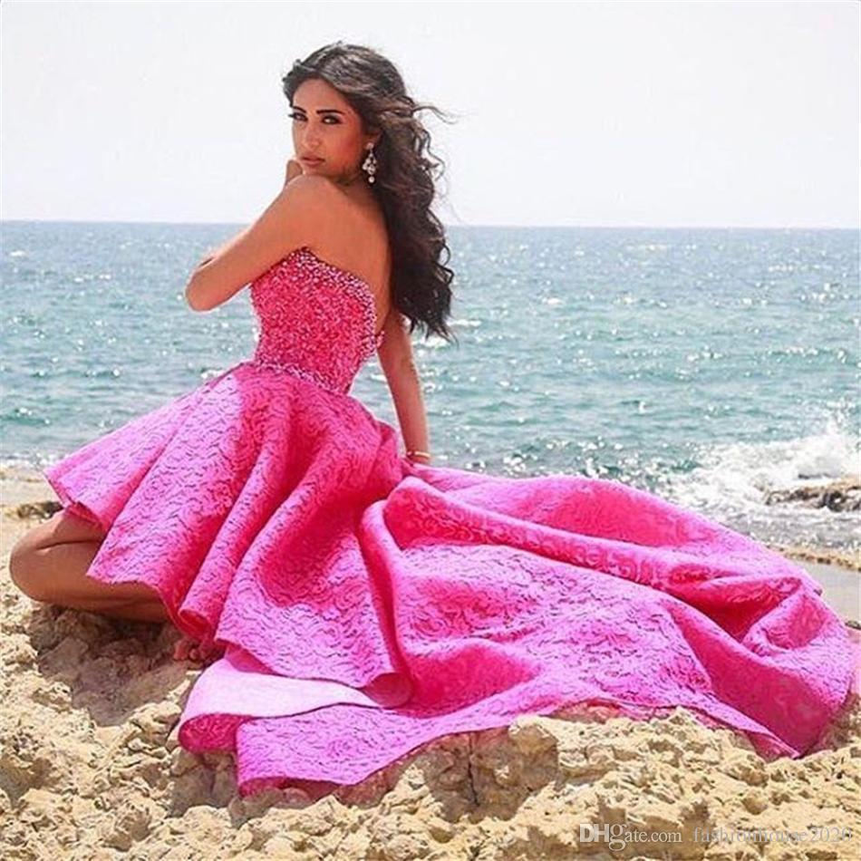 Stile arabo caldo rosa alta bassa Prom Dresses 2017 Sweetheart bordare pizzo breve abito formale Prom abiti da festa su misura