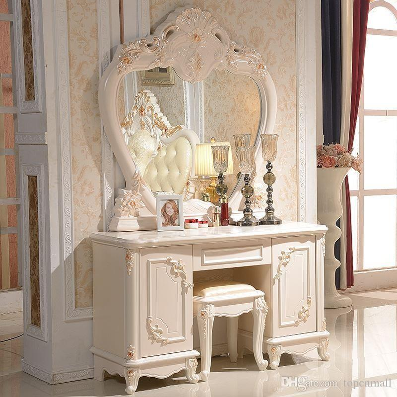 Online Cheap Temple Latest European Dresser Bedroom Dresser Supporting  French Ivory Furniture Send Makeup Stool By Topcnmall | Dhgate.Com
