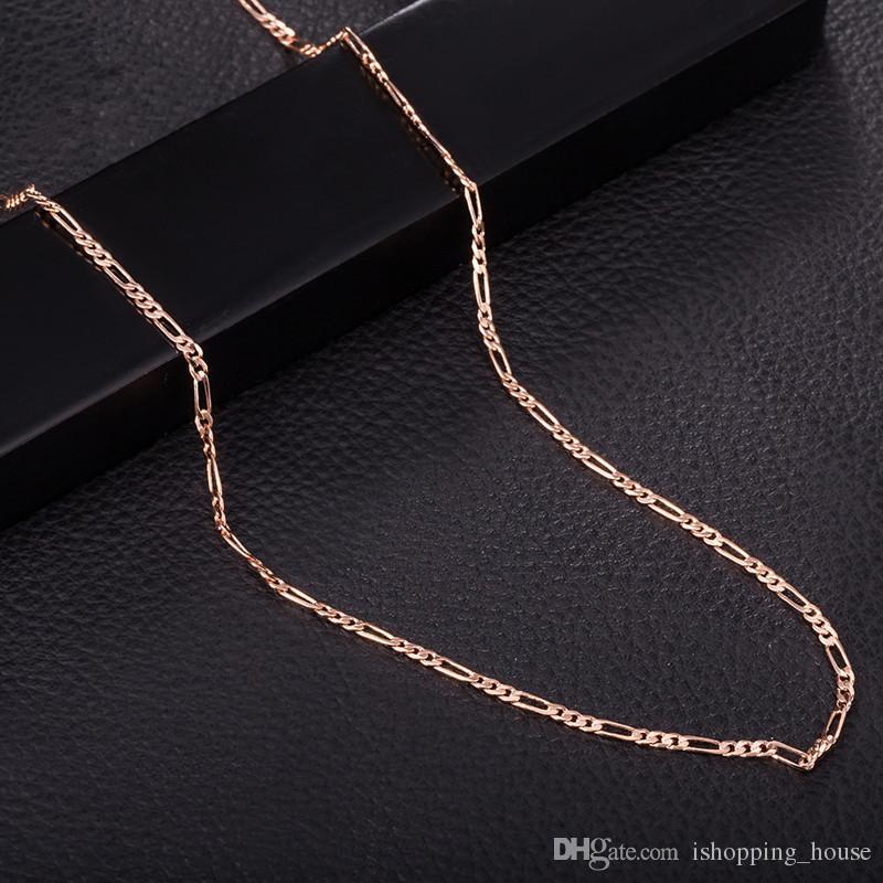 Der Figaro-Kette 2MM 470MM der heißer verkaufenden Halsketten-Ketten-Ketten-Gelbgold 18k / Rose Gold überzog weltweite Mode Jewerly Cahins