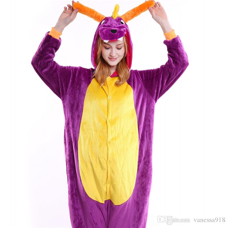 Homens Crânio Onesies Unisex Dragão Roxo Animal Dos Desenhos Animados Pijama Set Mulheres Queijo Gato Traje Cosplay Onesie Sleepwear Atacado MX-017