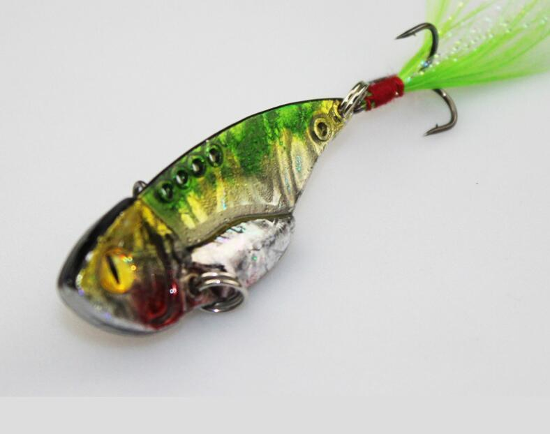 Top Design Colorized Metal VIB Baits or 5cm 11g Flutter Spinnerbaits Fishing Lure with Feather Hook for Fly Fishing