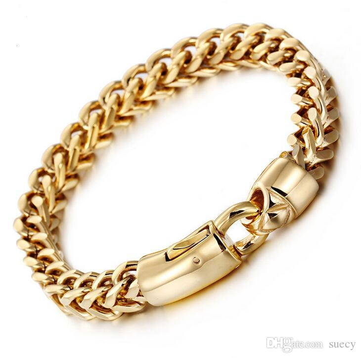 Gold Silver Color Bracelet Men Jewelry Rock Gifts 22cm * 8MM Wide Chain Link Stainless Steel Mens Bracelets Pulseras Hombre