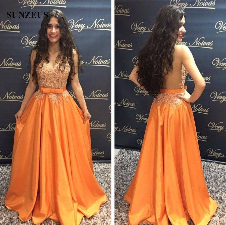 Apliques con cuentas de baile vestidos sexy blusa transparente blusa espalda larga larga naranja tafetán vestidos de fiesta con lazo con cuello en v vestido de evento sin mangas