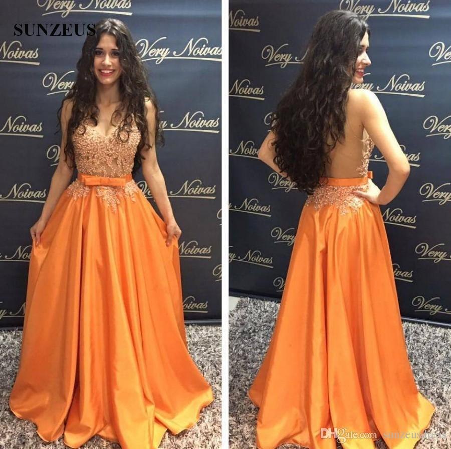 Appliques Beaded Prom Dresses Sexy See-through Bodice Sheer Back Long Orange Taffeta Party Gowns With Bow V-neck Sleeveless Event Dress