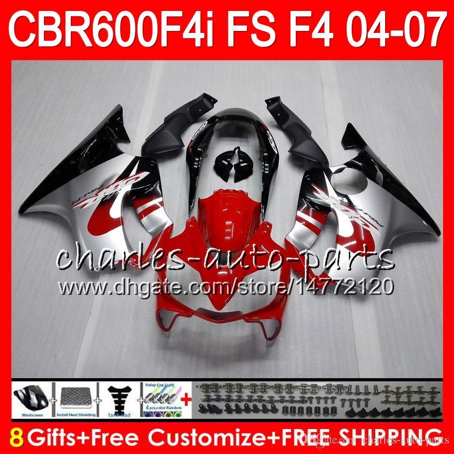 8Gifts For HONDA CBR 600 F4i CBR600F4i 04 05 06 07 AAHM20 Red silver CBR600FS FS CBR600 F4i CBR 600F4i 2004 2005 2006 2007 Fairing
