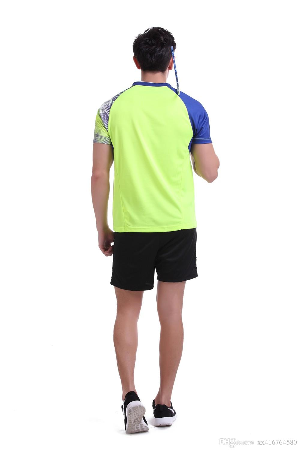 New Sportswear Quick Dry breathable badminton shirt , Women/Men table tennis clothes team game running Gym yellow short sleeves T Shirts