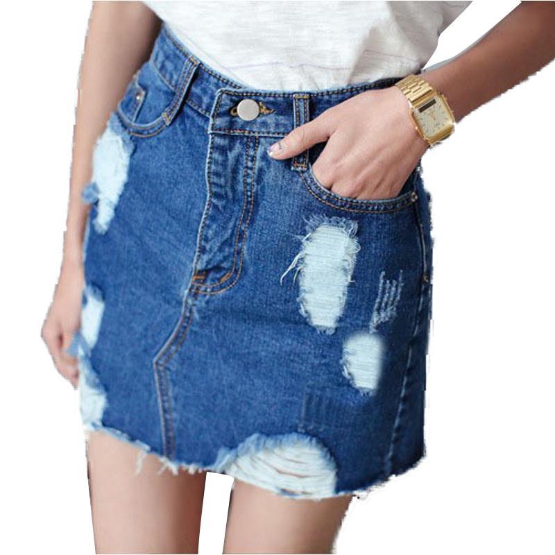 Compre Falda De Mezclilla De Jeans De Mujer Vintage Falda De Jeans De Falda  Saia Hole Faldas De Moda Jupe Femenino Ripped Jeans Falda De Mujer Saias  Faldas ... ab6d8e0c4c2e