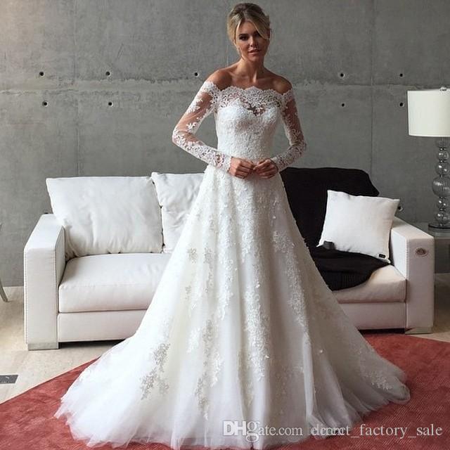 Großhandel Weinlese Viktorianische Hochzeits Kleid Lange Hülse Eine ...