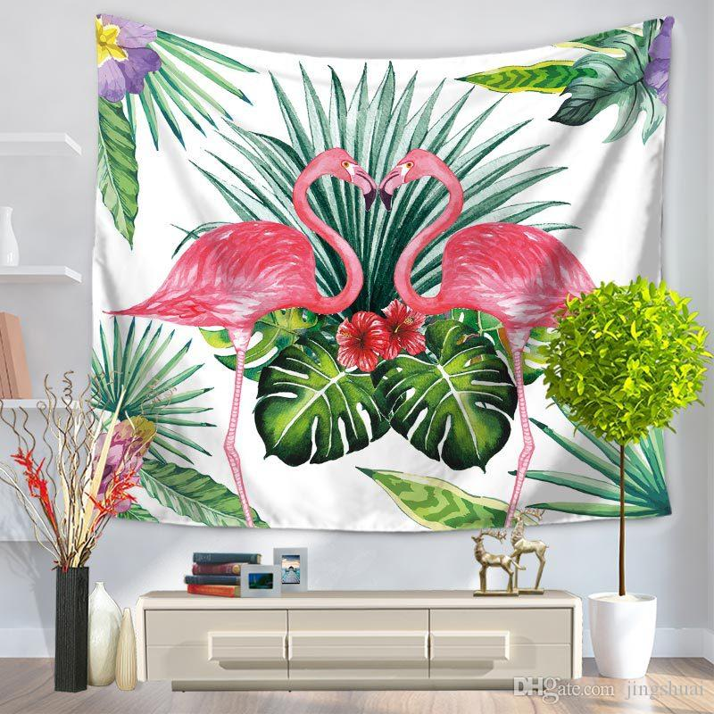 new Tropical Leaf Flamingo Wall Hanging Tapestry Decorative Sofa Chair Cover Fashion thin Beach Towel Table Cloth