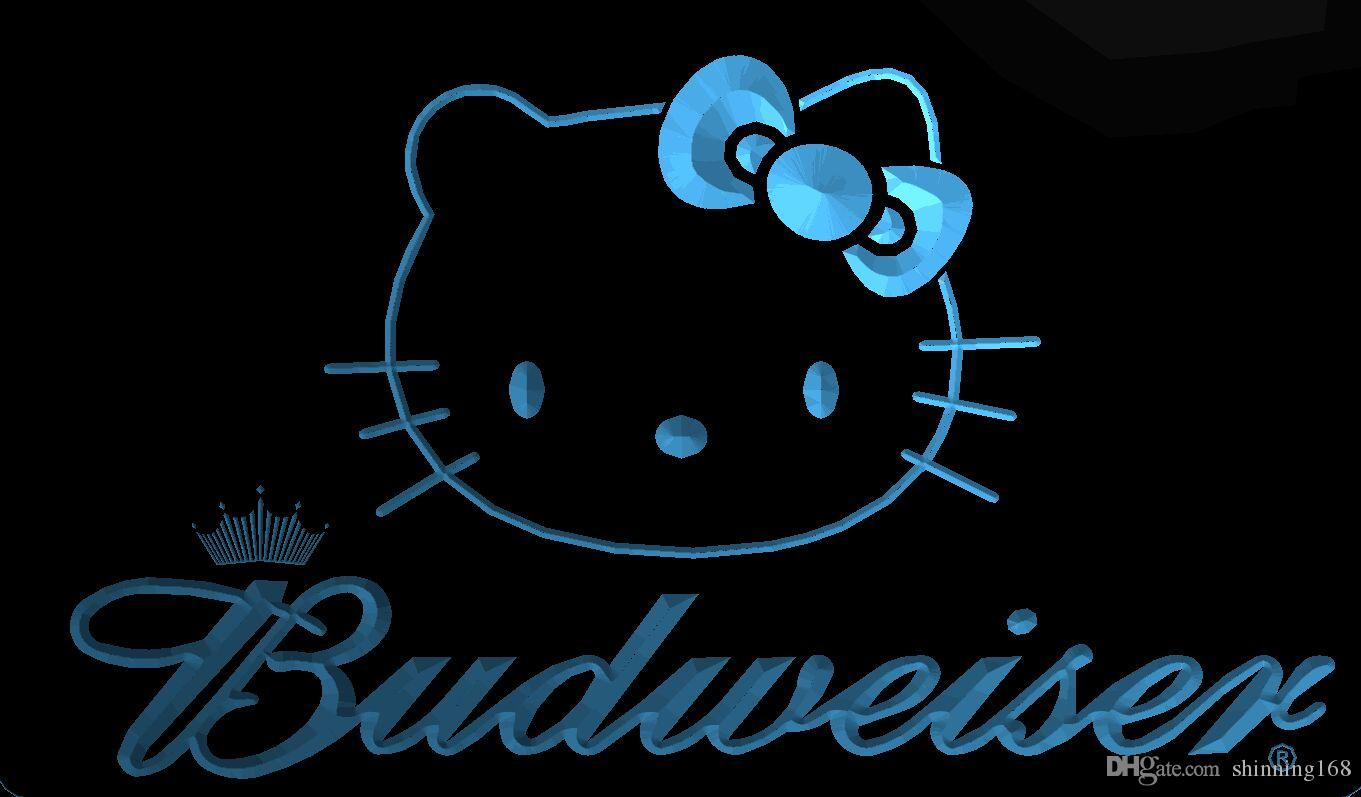 Großhandel Ls1963 B Hello Kitty Budweisers Bar Neon Led Licht Sign ...