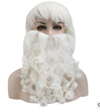 Xiu Zhi Mei Top Quality Curly Christmas Santa Claus White Long Kinky Cosplay Synthetic Head Hair Wigs Cheap Old Man Male Cosplay With Beard