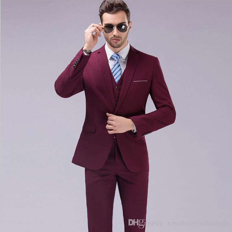New Fashion Solid Color Groom Tuxedos One Button Peaked