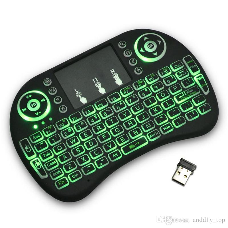 Rii I8 Fly Air Mouse 2.4G colorido teclado iluminado Backlight Wireless Touchpad multifuncional para o PC Pad Android TV Box MXQ V88 X96