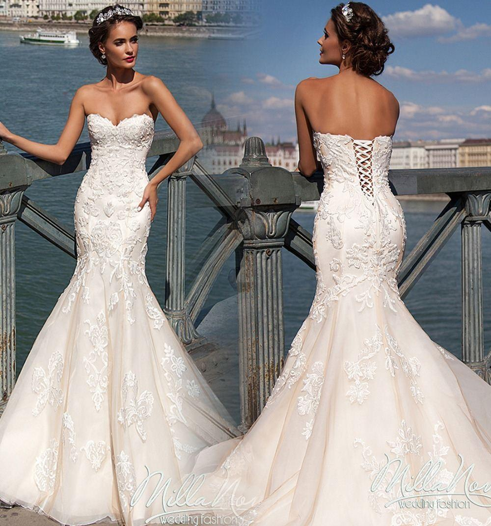 2017 Vintage Sexy Mermaid Wedding Dresses Sweetheart Neck Sleeveless Appliques Lace Up Open Back Court Train Bridal Gowns Cut