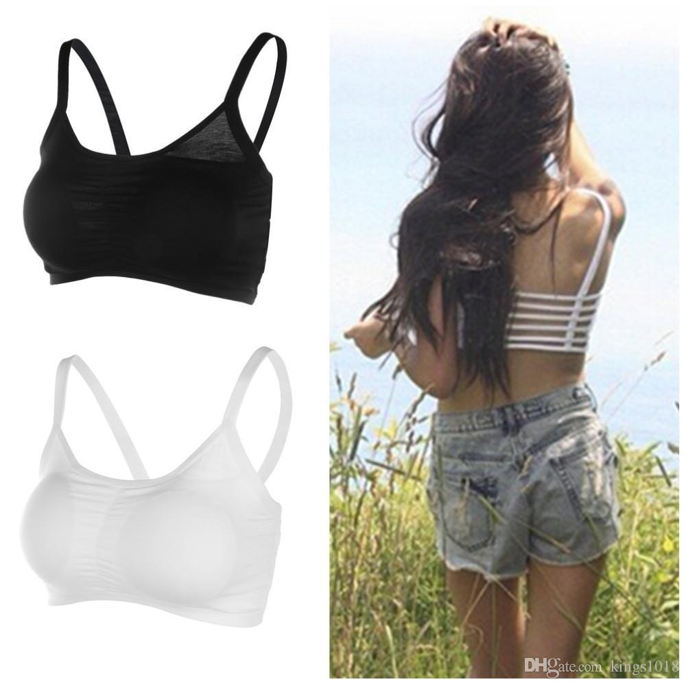 596426ad16 1pc Hot 2016 Fashion New Sexy Women Cotton Hollow Back Midriff Shirt Tank  Top Padded Bra Wrap Vest Chest Sport Bra Crop Tops.