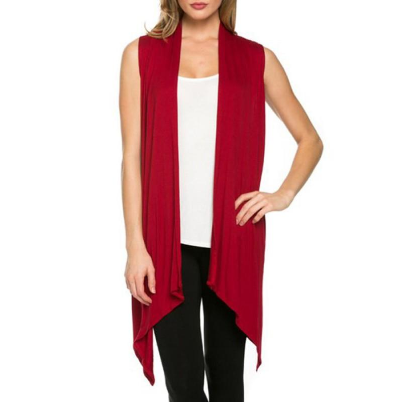 41a1a554be4c2 2019 Women Summer Sleeveless Jacket Soft Outerwear Cardigan Long Top Coat  Waistcoat From Bidalina