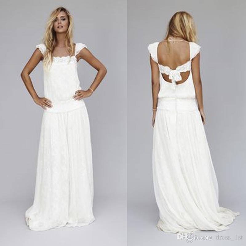 2016 Vintage Lace Dresses 1920s Beach Wedding Dress Cheap Dropped Waist Bohemian Strapless Backless Boho Bridal Gowns Custom Made EN7225