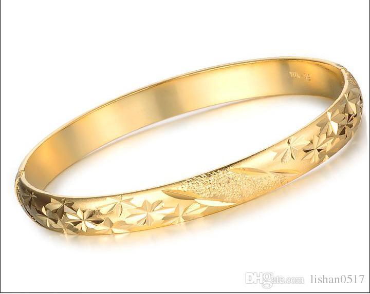 الجملة - / سحر سوار المرأة مجوهرات 18 كيلو الذهب الأصفر معبأ سيدة الكفة الإسورة 60 ملليمتر المرأة handcarved سوار 10 ملليمتر