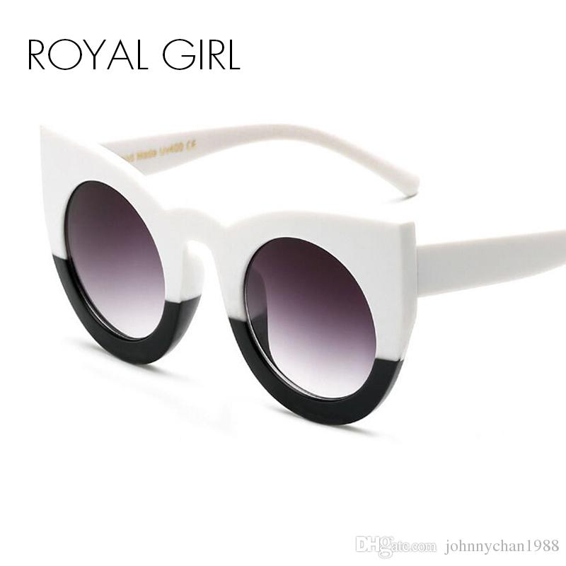 ROYAL GIRL Fashion Women Sunglasses Oversized Frame Mirror Glasses Chunky Cat  Eye Sunglasses Women Brand Designer Oculos De Sol Ss811 Sunglasses Online  ... 5e113ab12c