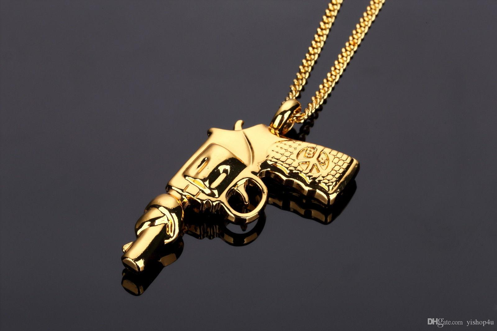 10mm 14k Gold Cz G Link Chain Hip Hop Jewelry King Ice >> Mens Hip Hop Necklace 18k Gold Plated Pistol Gun Iced Out Pendant Cuban Chain 24 Pendant Necklace