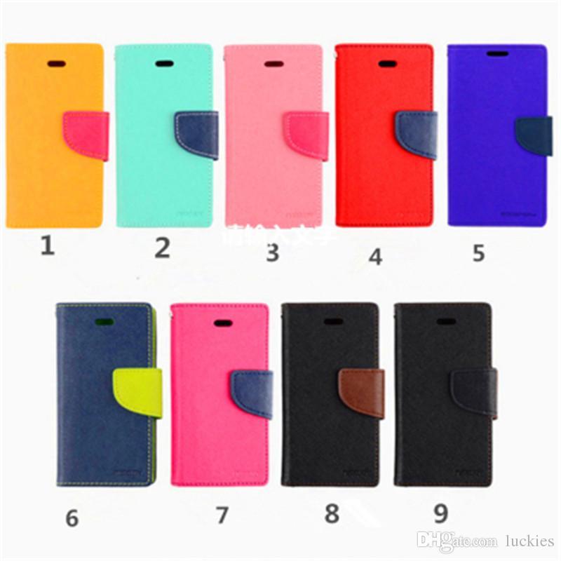 Custodia a portafoglio MERCURY Canvas Slot carte di credito Custodia in pelle PU Flip supporto supporto iPhone 7 6s plus Samsung s8 plus s7 edge