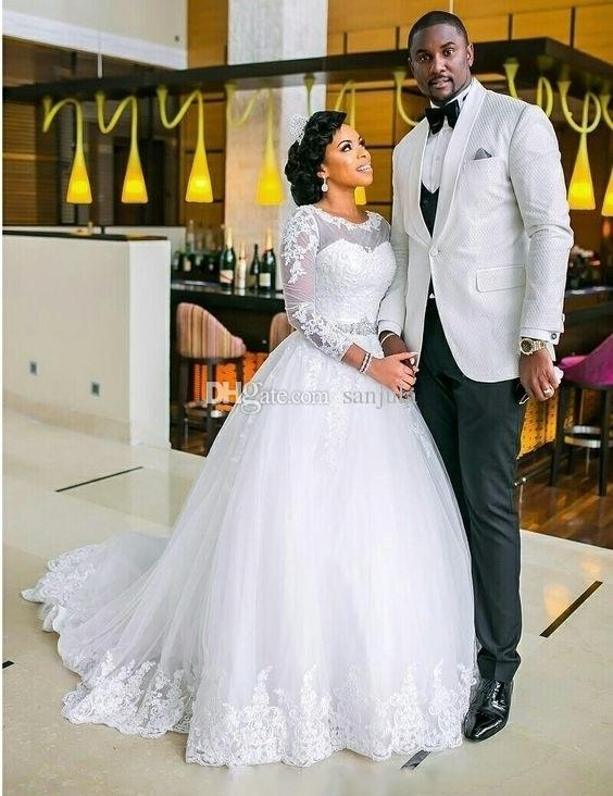 Long Sleeve Black Bride African Wedding Gowns For Bridal Ball Gown