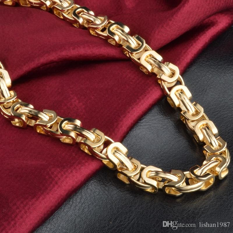 18k stamped Vintage Long Gold Chain For Men Chain Necklace New Trendy Gold Color Bohemian Jewelry Colar Male Necklaces