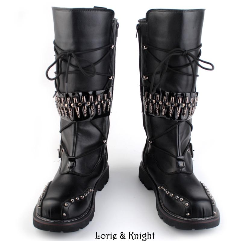 b47f2bc1d85 Wholesale-Mens Black Leather Motorcycle Boots Heavy Metal Rivet Combat  Boots Punk Rock Martin Boots