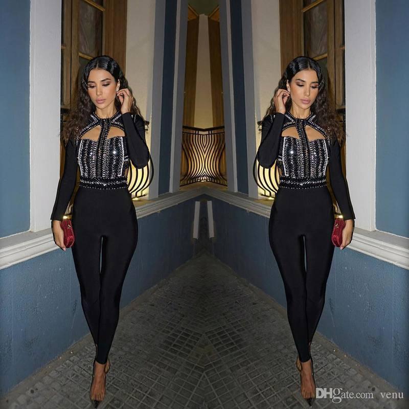 1910e2c962 2019 2017 Kim Kardashian Winter New Bandage Jumpsuit Elastic Tight  Nightclub Ladies Birthday Party Pants Sexy Beaded Diamond Hollow Romper PF  022 From Venu