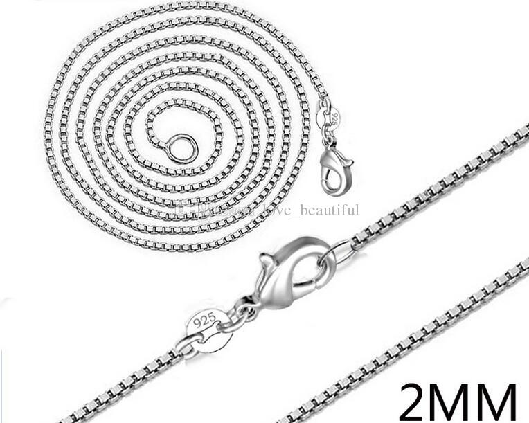 Man woman Necklace 925 sterling Silver 2MM Box Chain Necklace 16inch/18inch/20inch/22inch/24inch for Pendants