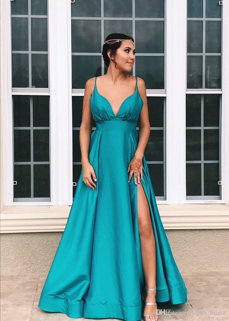 Sexy Long Satin Cheap 2k17 Prom Dresses 2018 A Line Straps High ...