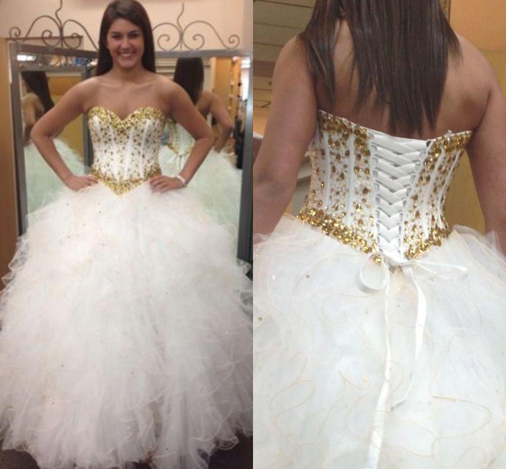2017 Gold Rhinestones White Quinceanera Dresses Ruffles Sweetheart ...