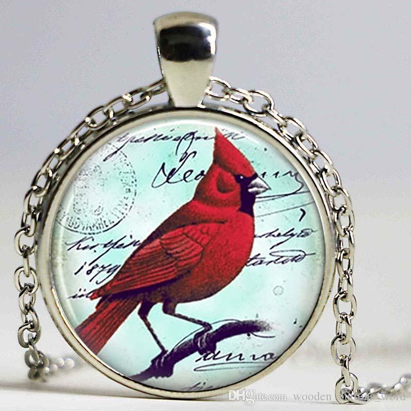 christmas bird gift red cardinal her keyring necklace for pin jewelry