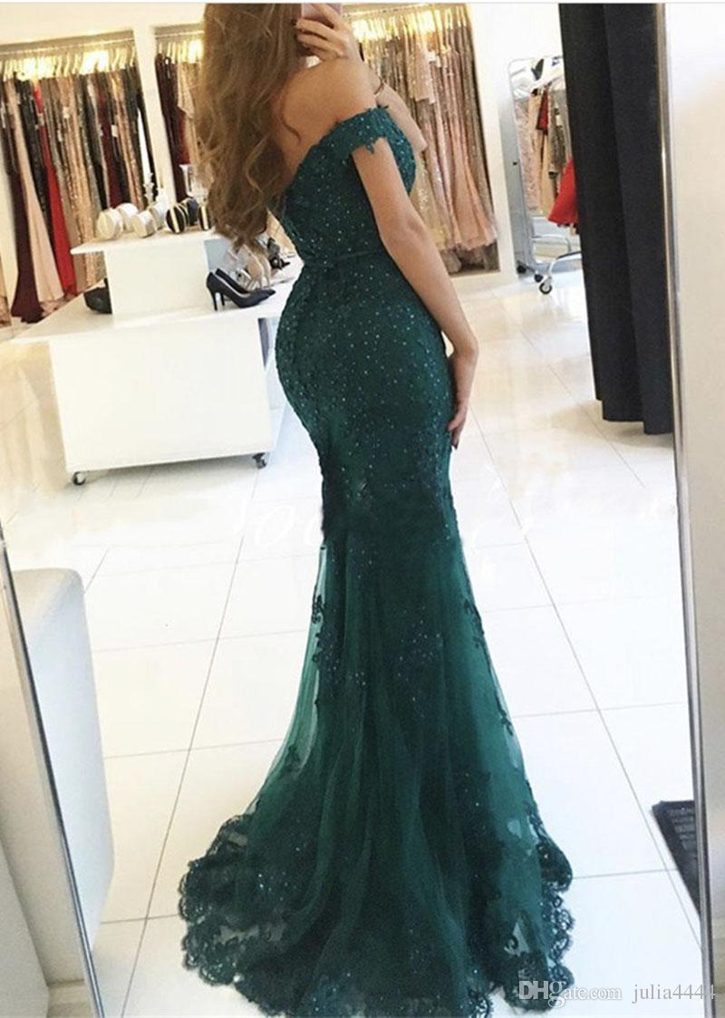 Hunter Peacock Green Mermaid Evening Party Dresses 2017 Modest Lace Beaded Off-shoulder Long Slim Cheap Prom Occasion Dress Gown
