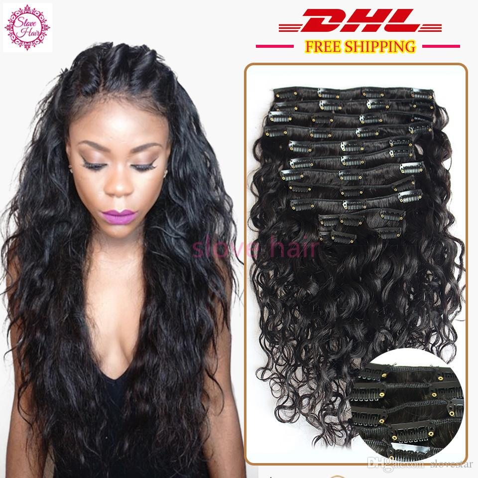 8a Grade 100 Virgin Water Wave Clip In Human Hair Extensions Wavy