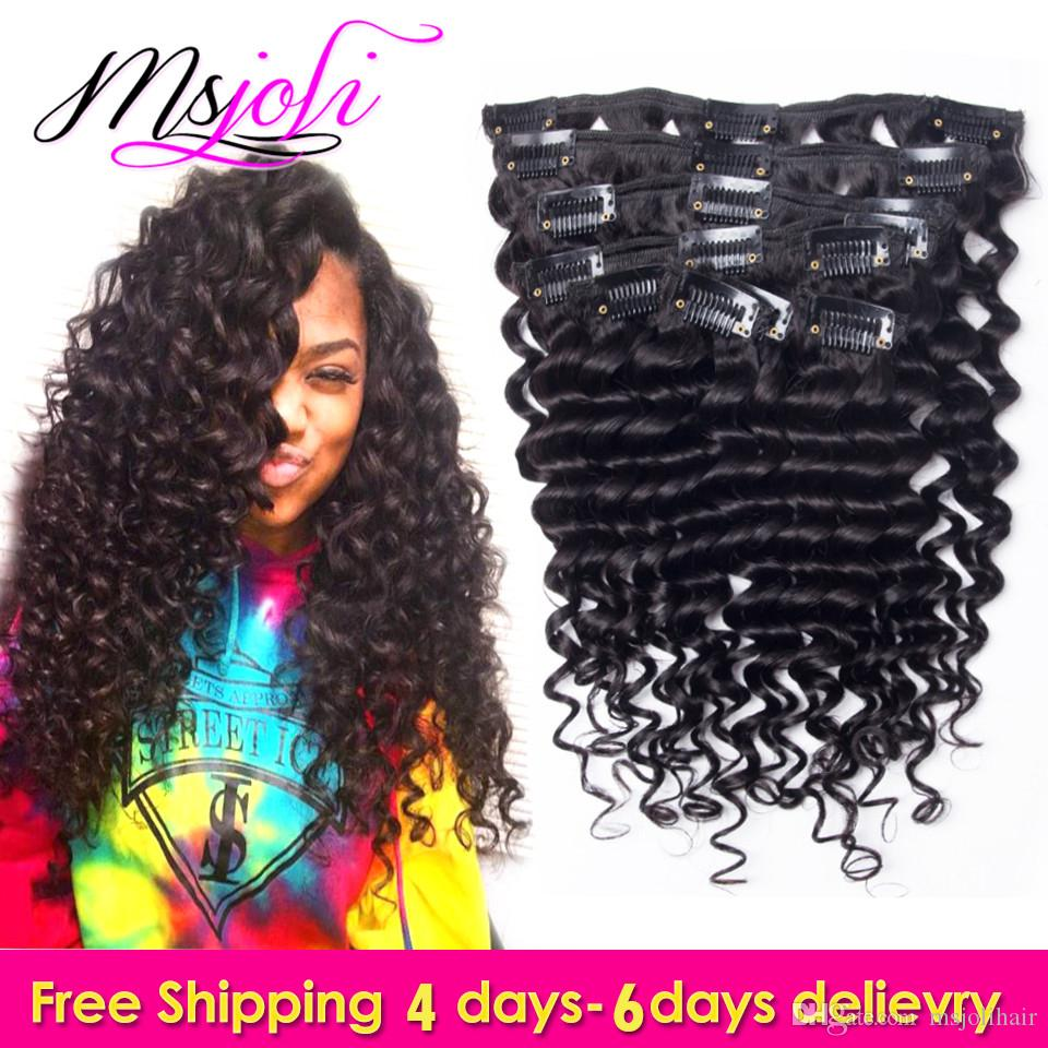 9A Indian Virgin Human Hair Clip In Extension Deep Wave Full Head Natural Color Beauty Hair 7Pcs/set 12-28 Inches by Ms Joli
