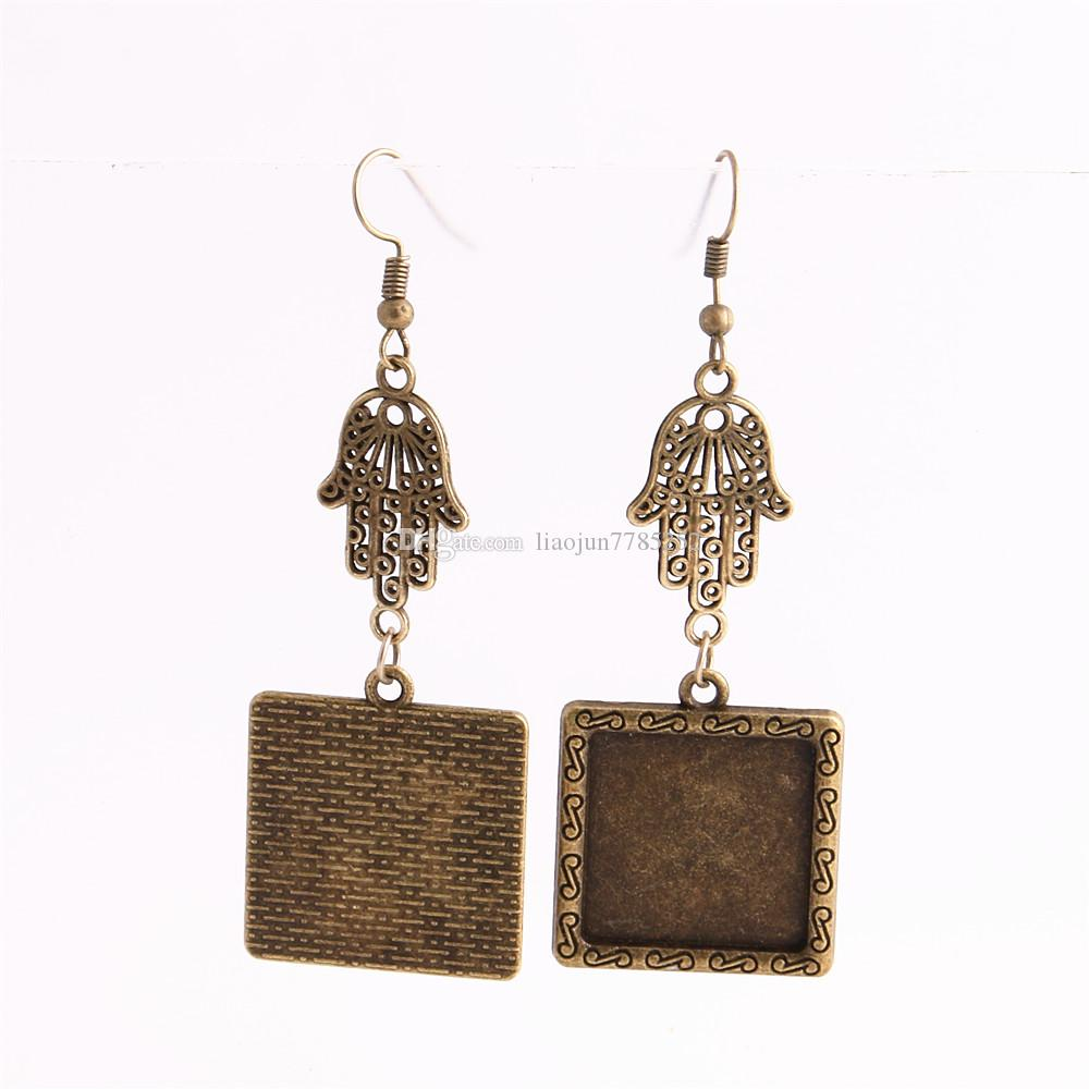 SWEET BELL Metal Alloy Zinc Hamsa Hand Charm Fit Square 20mm Cabochon Set Pendant Drop Earing Jewelry Making C0811