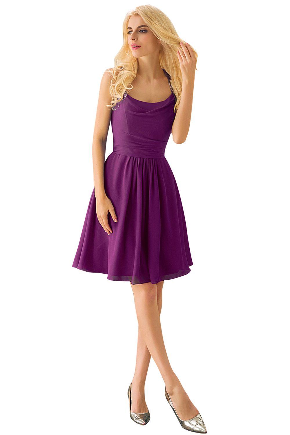 Short Bridesmaid Dresses Cheap Lace Sleeveless Knee Length Scoop A ...