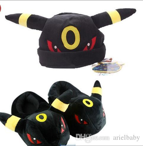 aab9362e195de OHMETOY Umbreon Plush Toys Cosplay Slippers Shoes Plushie Winter Cap ...