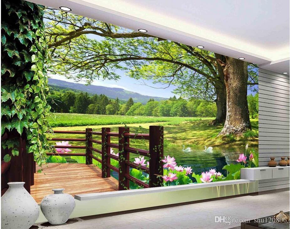 3d room wallpaer custom mural photo balcony tree view tv for Definition for balcony