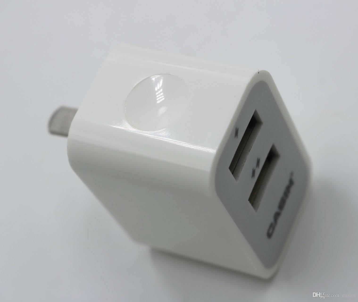 Casim S-U34 Orijinal yüksek kalite 5 V 2.1A Fiş Seyahat Evrensel ABD Ev Duvar Şarj 2 USB Portları Akıllı Hızlı Şarj