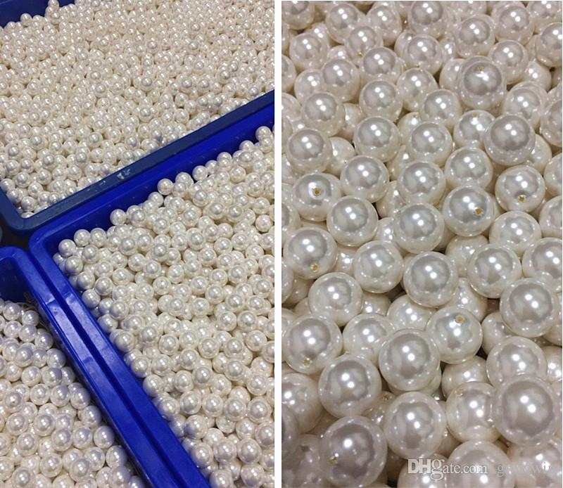 beige white color DIY handmade beads jewelry accessories material ABS imitation pearls scattered beads with half holes beads D0102