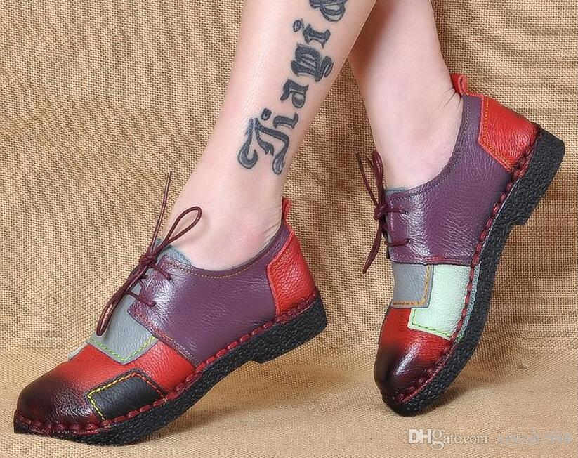 3da6a35cf2780 Women s Handmade Shoes Genuine Leather Flat Lacing Mother Shoes Woman  Loafers Soft Single Casual Shoes Women Flats