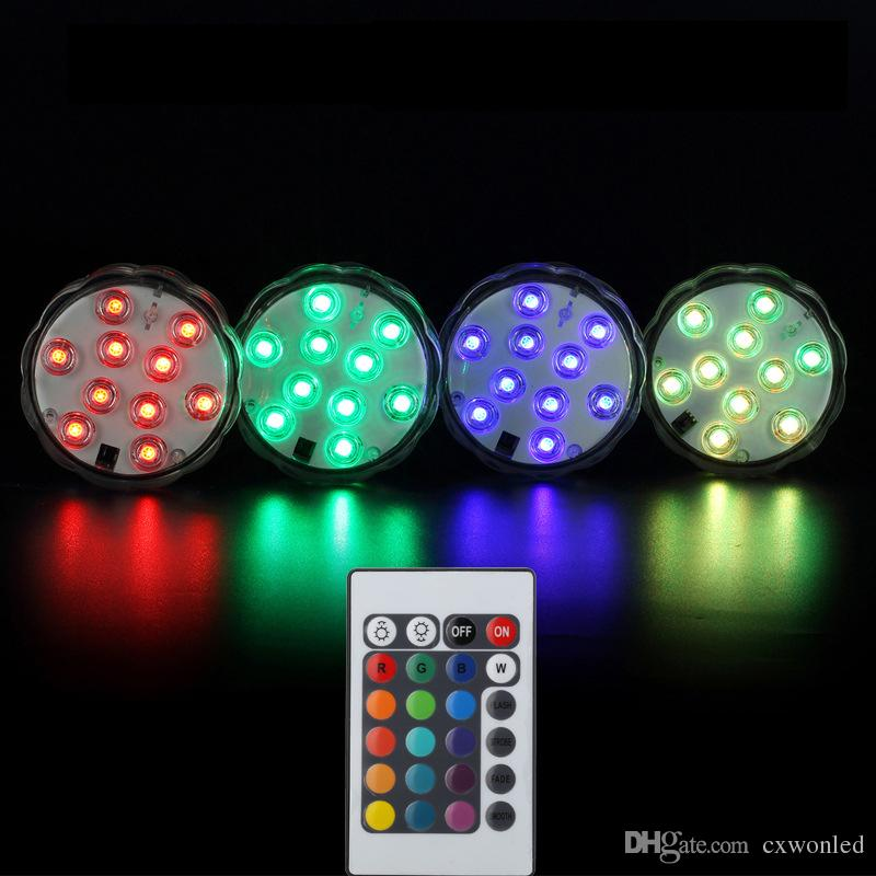 Led Waterproof Submersible Light 10-LED RGB High Brightness Decoration lamp Underwater Colour Changing Lights AA Battery with Remote Control